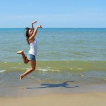 skip on beach